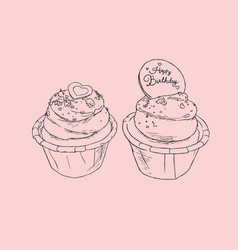 Birthday cupcakes party sketch vector
