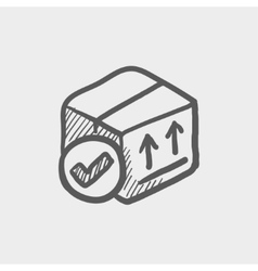 Box with validation mark sketch icon vector