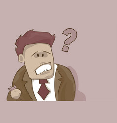 Business man with question mark pondering problem vector