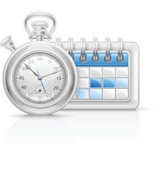 Calendar clock icon vector
