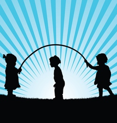 Children play with rope silhouette vector