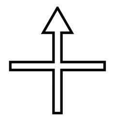 Cross arrow up contour icon vector
