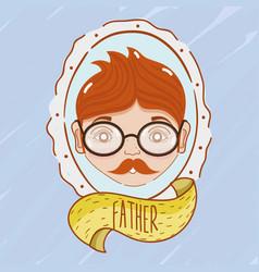 father inside of emblem decoration design vector image vector image