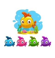 Funny cartoon yellow baby fish vector image vector image