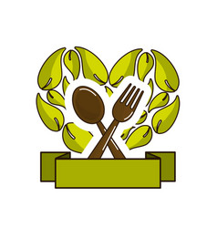Green leaves in form of heart with spoon fork and vector