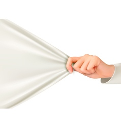 Hand tugging a white cloth with space for text vector image vector image