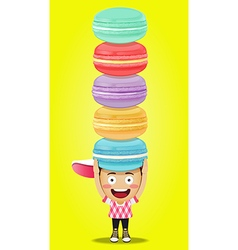 Happy man carrying big macaroons or macarons vector