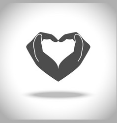 Heart from hand icon vector