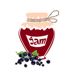 Jar of black currant jam vector