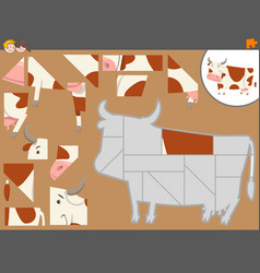 Jigsaw puzzle activity with cow vector