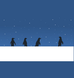 Landscape penguin on snow hill silhouette vector