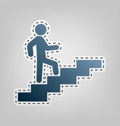 Man on stairs going up blue icon with vector