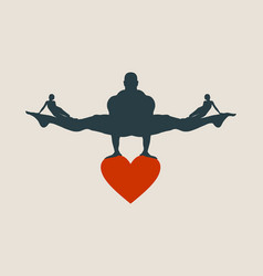 Muscular man balancing on heart icon vector