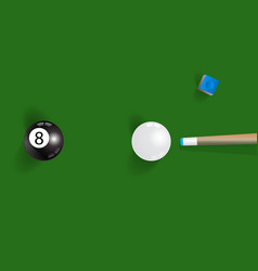 Pool table background with white and black pool vector image