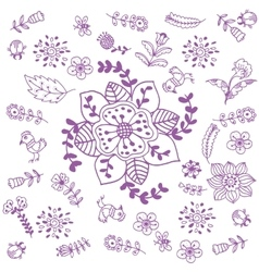 Purple flowers doodle art vector