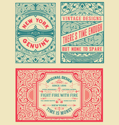 Retro card set of 4 templates vetor layered vector
