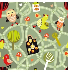 Road seamless pattern with houses and birds vector image
