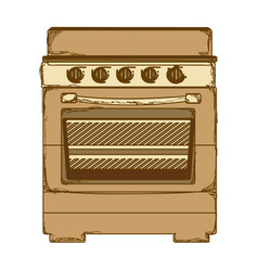 Sepia silhouette of stove with oven vector
