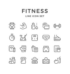 set line icons of fitness vector image