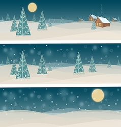 Set of three banners with winter night landscape vector image vector image
