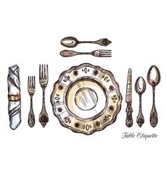 Table etiquette hand drawn vector