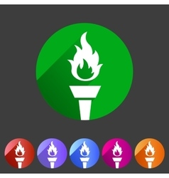 Torch flame fire icon flat web sign symbol logo vector image