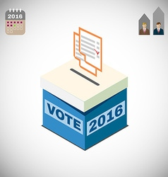 Voting box and ballot election 2016 vector
