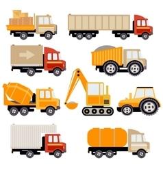 Work Trucks Flat Set vector image vector image
