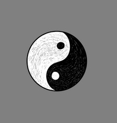 ying yang symbol hand sketch vector image