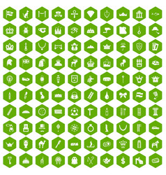 100 crown icons hexagon green vector