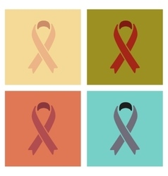 Assembly flat icons gays hiv ribbon vector