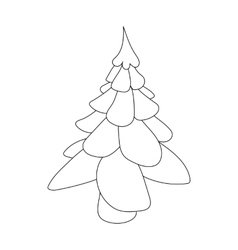 Christmas fir tree icon outline style vector