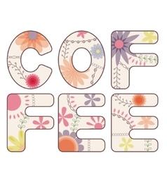 Coffee word vintage vector image