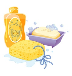 A sponge a soap and a shampoo vector image