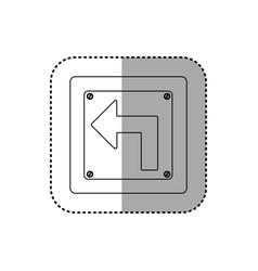 Sticker silhouette metallic square frame turn left vector