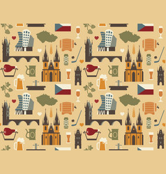 Pattern with symbols of the czech republic vector
