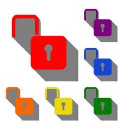 unlock sign set of red orange vector image