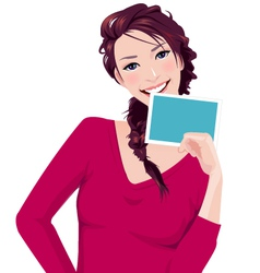 Woman holds photo frame vector