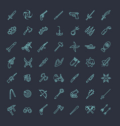 Weapons icons set arms solid symbol vector