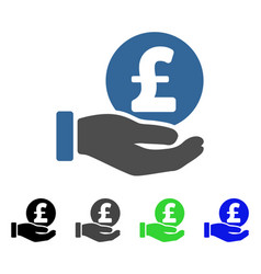 Pound coin payment hand flat icon vector