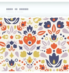 Ornamental folk tulips horizontal torn frame vector