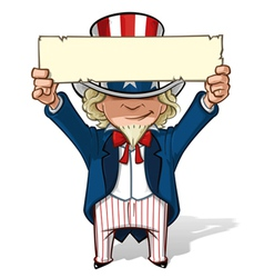 Uncle Sam Holding Up a Sight vector image