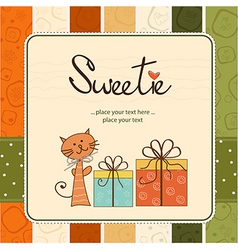 Greeting card with cat and presents vector