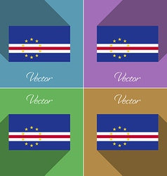 Flags cape verde set of colors flat design and vector