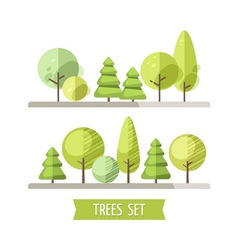 Set of flat trees and pines vector