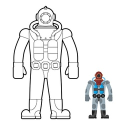 Old wetsuit coloring book diver in an old suit for vector