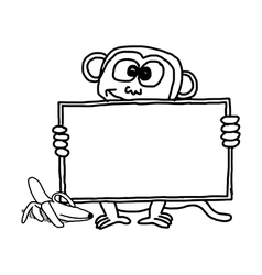 Monkey holding blank sign vector