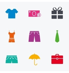 Clothing accessories icons shopping signs vector