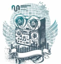 Hand drawn tape recorder vector