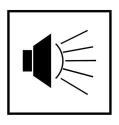 Ioudspeaker icon in black square on white vector